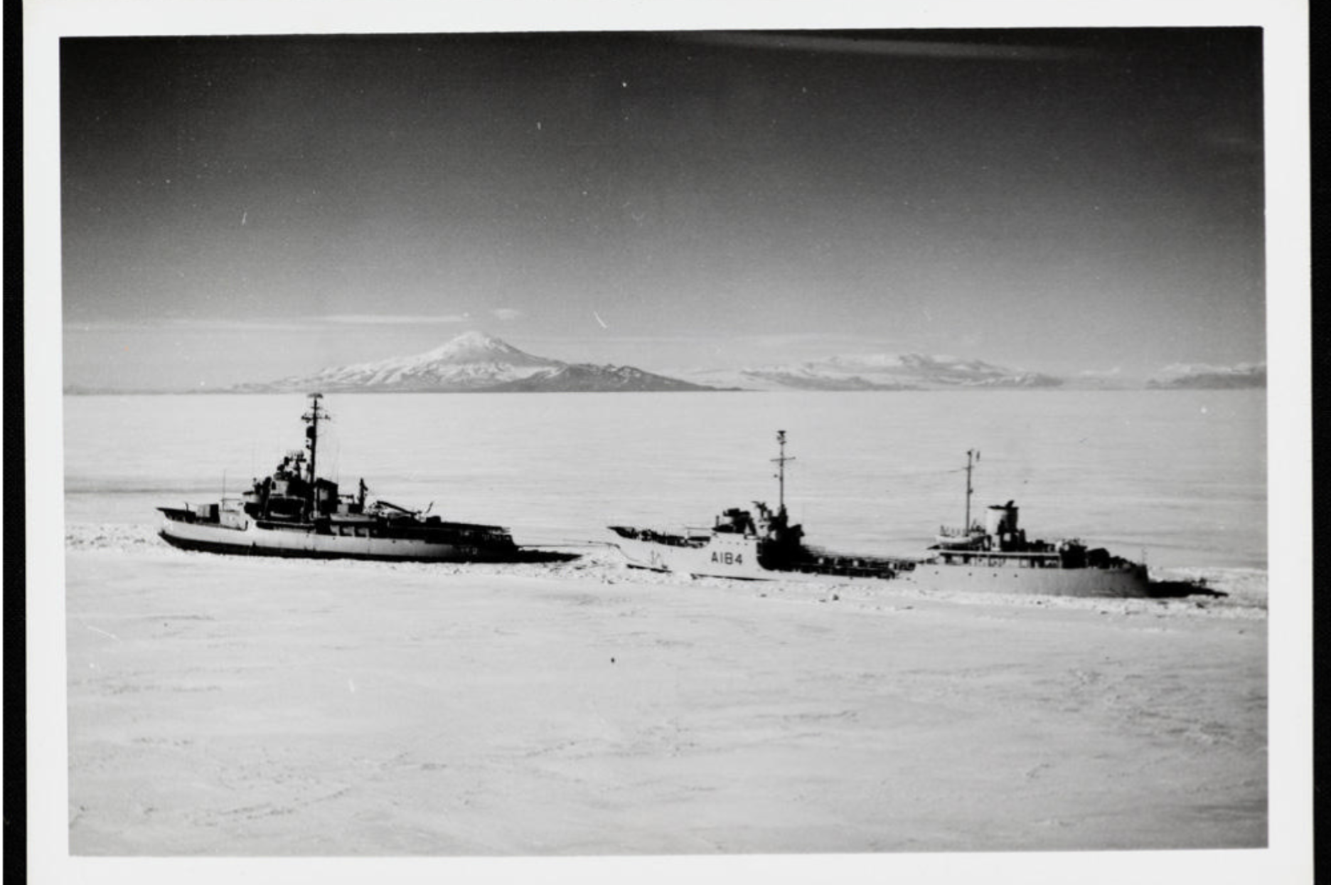 11829 1 The US Icebreaker 'Edisto' followed by H.M.N.Z.S. 'Endeavour II' in McMurdo Sound, Antarctica