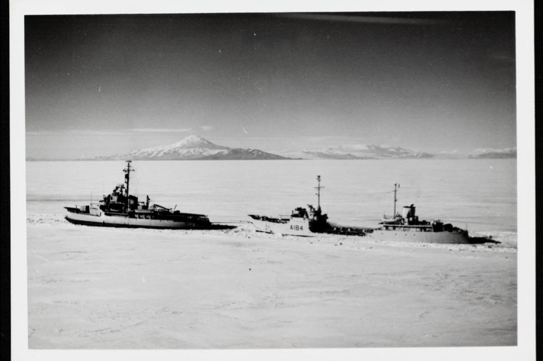 11829 1 The US Icebreaker 'Edisto' followed by H.M.N.Z.S. 'Endeavour II' in McMurdo Sound, Antarctica