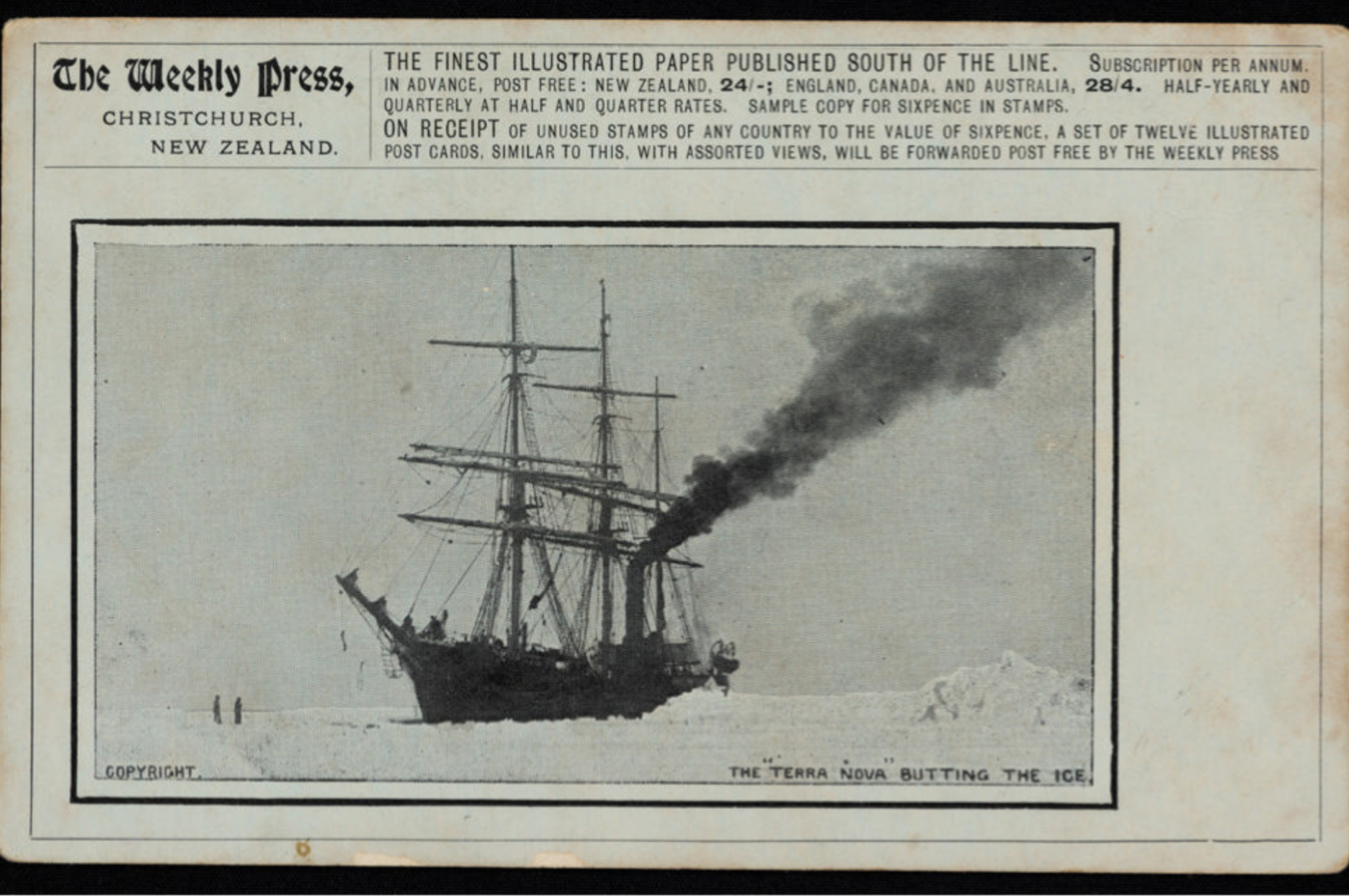9921 1 The Weekly Press Postcard, the 'Terra Nova' in the Antarctic Ice, 1910-13.