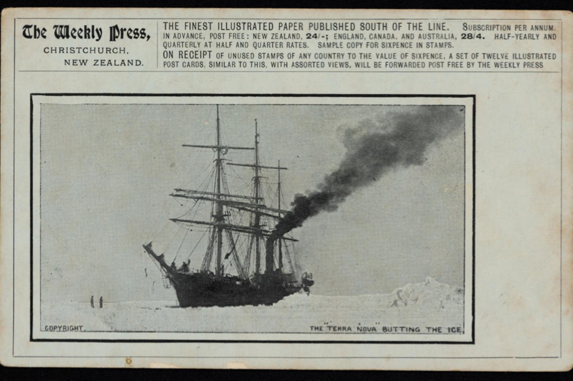 9921 1 The Weekly Press Postcard, the 'Terra Nova' in the Antarctic Ice, 1910-13.