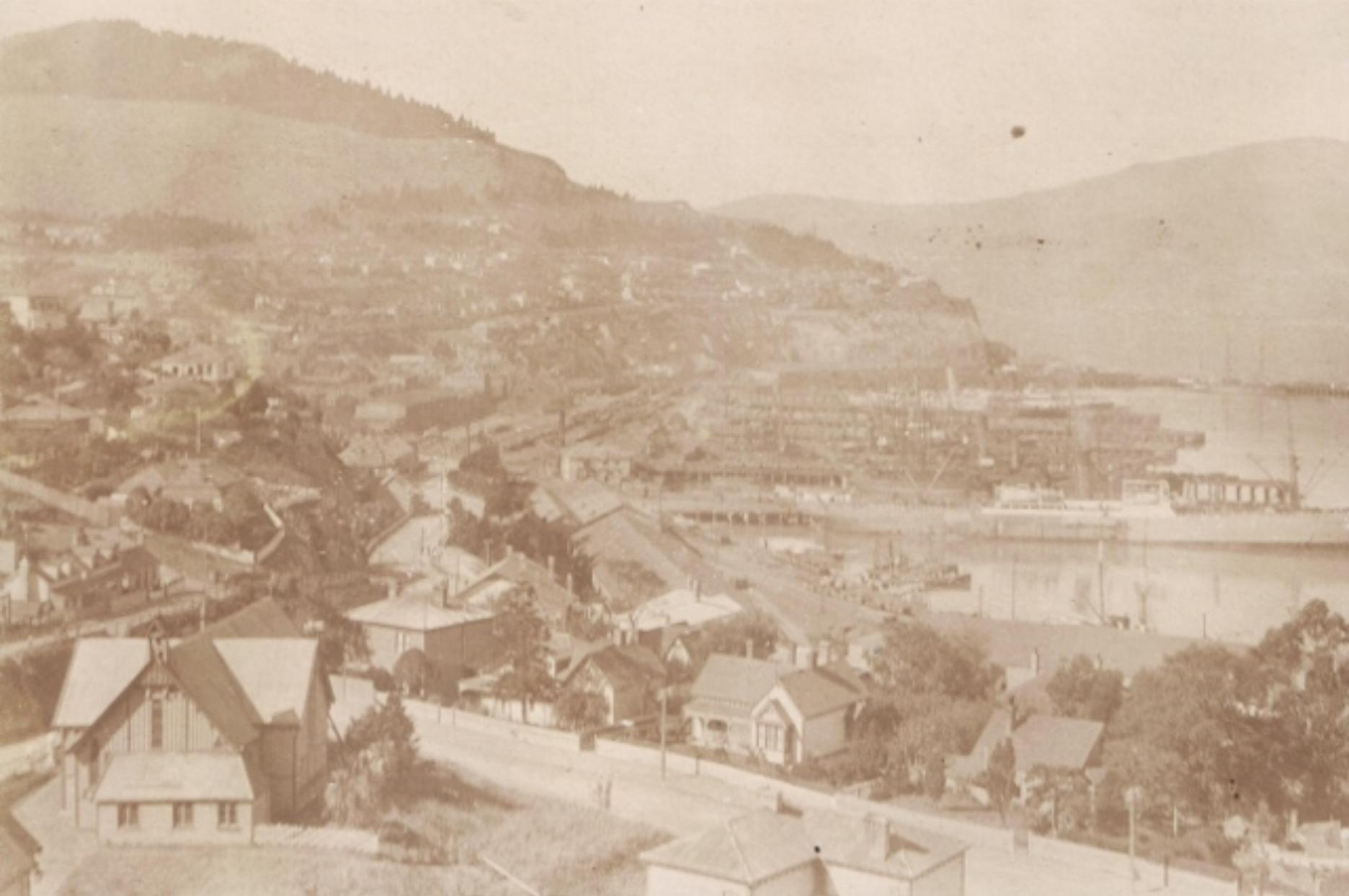 St Saviour's Church (bottom left) in West Lyttelton, c.a. 1911. Lyttelton Museum.