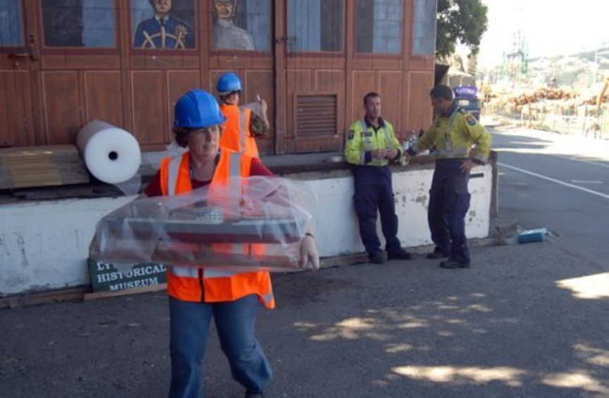 Thérèse helping to rescue the Lyttelton Museum collection.